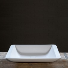 Cross Tone Solid surface opbouwwastafel vierkant wit mat